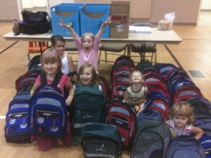 Tanner, Jake and Friends make backpacks for the needy